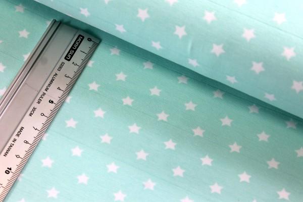 Jersey | bedruckt | querwebstreifen | weiße Sterne | 7mm | mint