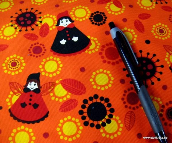 Babycord | bedruckt | fairy fun | orange