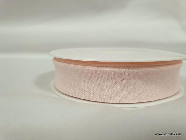 Schrägband/Einfassband | 20mm | Baumwolle | Pünktchen rosa/weiss | 3m