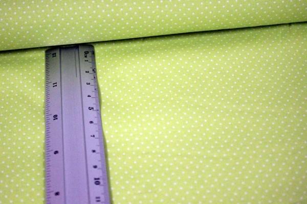 Baumwolle | bedruckt | 1mm Punkte | hellgrün/weiss