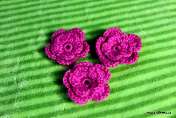 Applikation   Häckelblume   35mm   pink