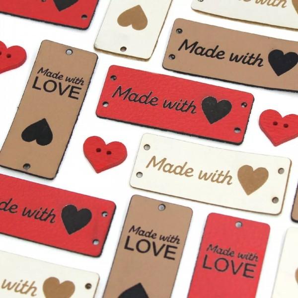 Label | Applikation | Lederimitat | 6x Herz made with love