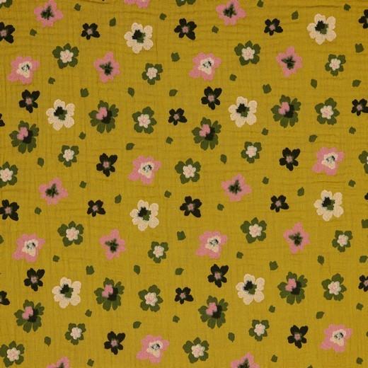 Baumwolle   double gauze / Musselin   Blumen   senf