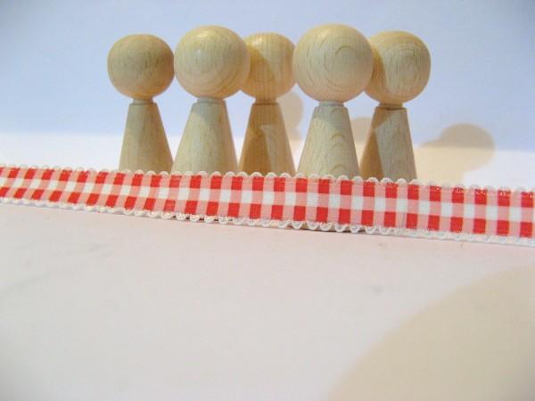 Gummiband | mit Spitze | 15mm | Karo | rot/weiß