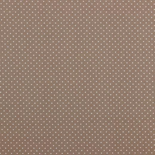 Baumwolle | bedruckt | 1mm Punkte | hellbraun/weiss