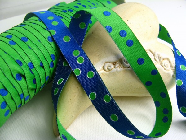 Webband | Punkte grün/blau