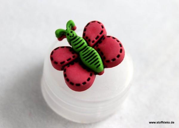 Knopf | Kunststoff | Schmetterling | grün/pink