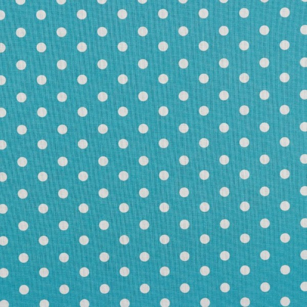 Baumwolle   bedruckt   8mm Punkte   türkis / weiß