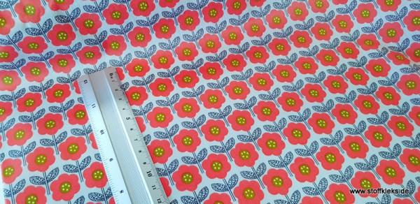 beschichtete Baumwolle / Wachstuchstück | Blumenreihe | grau/bunt