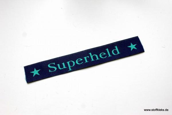 Applikation | Label | Superheld | dunkelblau mit petrol | 1,5 cm
