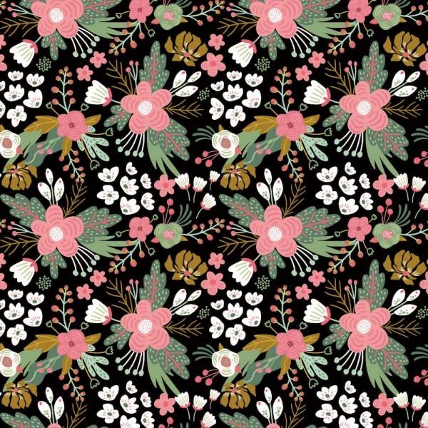Jersey | bedruckt | Blumen | schwarz