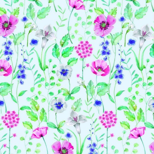 Sommersweat | French Terry | DIGITAL | flowers | weiss