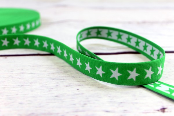 Gummiband   beidseitig nutzbar   Sterne   grün / weiss