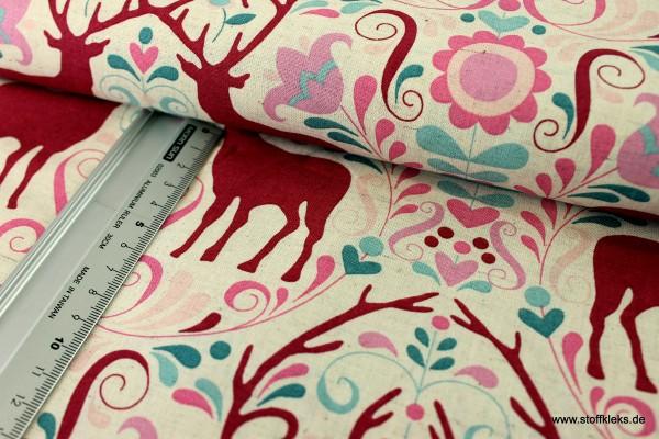 Baumwolle | bedruckt | Rosalie Dekker | Gembrook | Hirsche | pink