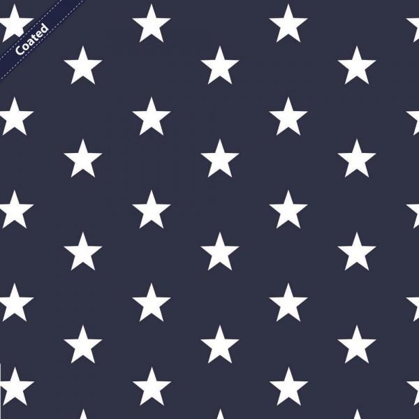 Wachstuch/beschichtete Baumwolle | 3cm Sterne | navy