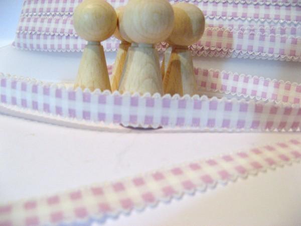 Gummiband | mit Spitze | 15mm | Karo | flieder/weiß