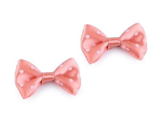 2 x Schleifchen | gepunktet | rosa / weiß | 2 x 4 cm