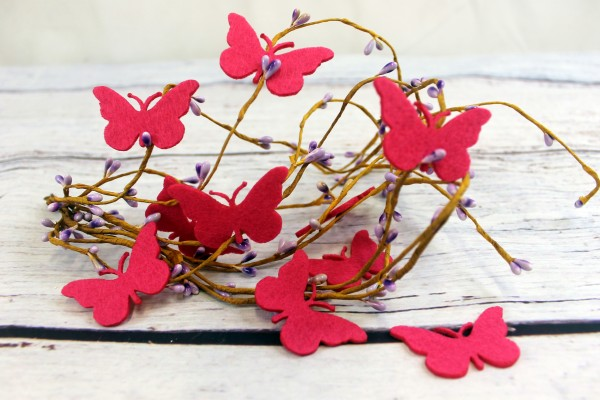 Filzapplikation | Schmetterling | dunkel pink | 5cm
