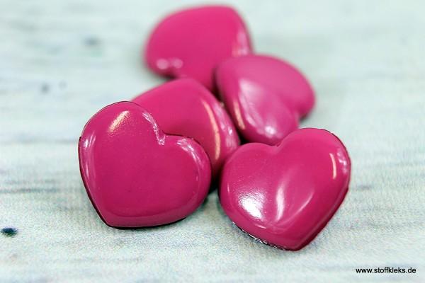 5 Knöpfe | Herz | pink - mit Öse