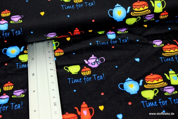 Baumwolle | bedruckt | Time for tea | schwarz