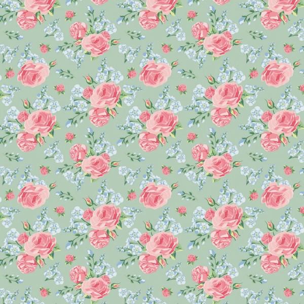 Baumwolle   bedruckt   dream of roses   mint