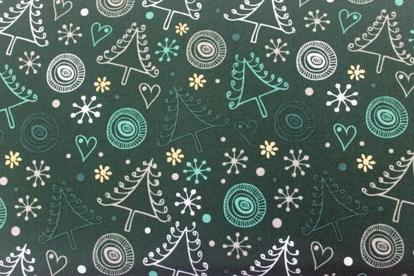 Baumwolle | bedruckt | crazy christmas tree | tannengrün