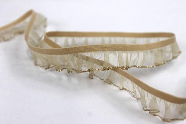 Rüschenband   elastisch   2,5cm   beige/gold