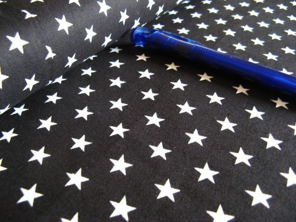 Baumwolle | bedruckt | 10mm Sterne | schwarz/weiss