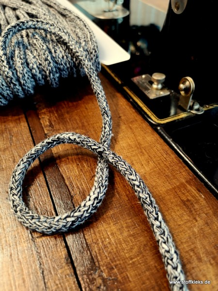 Baumwollkordel | 8mm | schwarz/grau