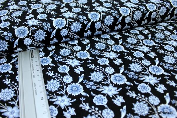 Baumwolle | bedruckt | Eyelike | Hindelopia | Flora | dunkelblau
