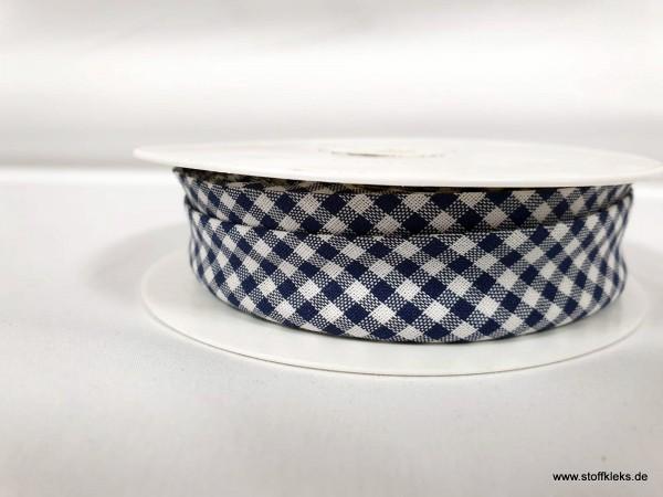 Schrägband/Einfassband | 20mm | Baumwolle | Vichy dunkelblau/weiss | 3m