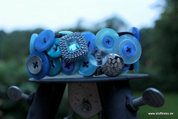 Knopfarmband - Set zum Selbermachen | blau/silber