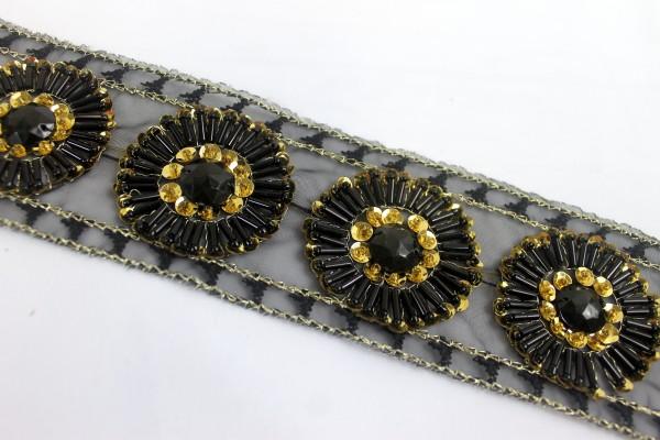 Tüllborte | black & gold | schwarz | 5cm