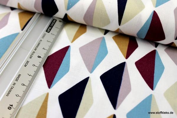 Baumwolle | bedruckt | Copenhagen Print Factory | colourful diamonds | weiß
