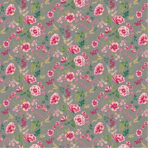 Baumwolle | bedruckt | SWEET FLOWERS | grau