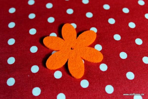 Filzapplikation | Blume mit 6 Blüten | orange