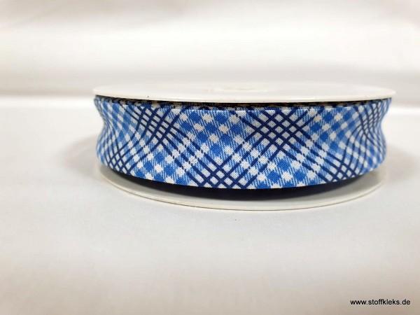 Schrägband/Einfassband | 20mm | Baumwolle | Karo blau | 3m