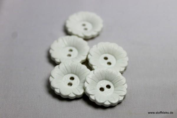 5 Knöpfe | Kunststoff | Gänseblümchen | 2,5 cm