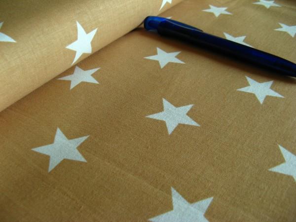 Baumwolle | bedruckt | 3cm Sterne | beige/weiss