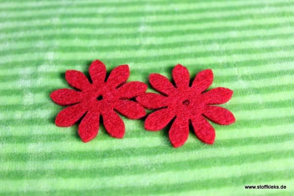 Filzapplikation | Blume mit 9 Blüten | rot