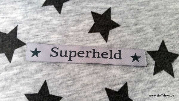 Applikation | Label | Superheld | grau
