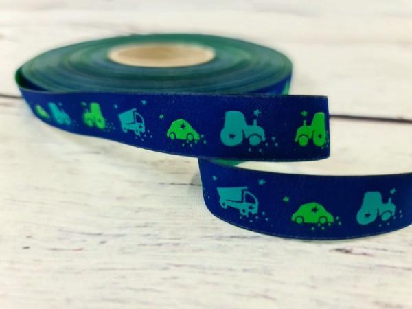 Webband | Fahrzeuge | 17 mm | grün/ blau