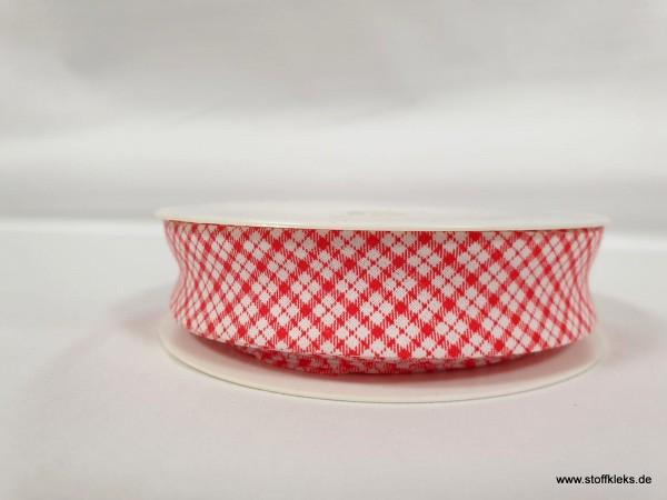 Schrägband/Einfassband | 20mm | Baumwolle | Karo rot | 3m