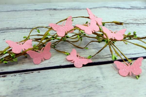 Filzapplikation   Glitzerschmetterling   hell pink   5cm