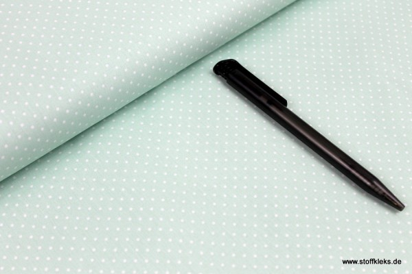 Baumwolle   bedruckt   1mm Punkte   mint/weiss