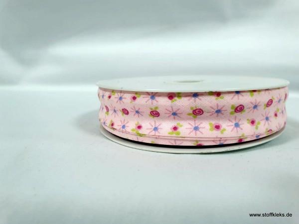 Schrägband/Einfassband | 20mm | Baumwolle | Blümchen pink | 20m
