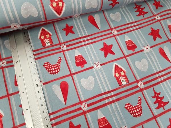 Baumwolle | bedruckt | Weihnachtskaro | grau/rot