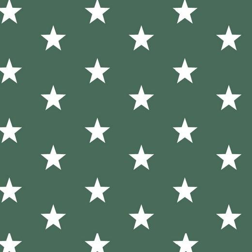 Baumwolle | bedruckt | 3cm Sterne | dunkelgrün/weiss