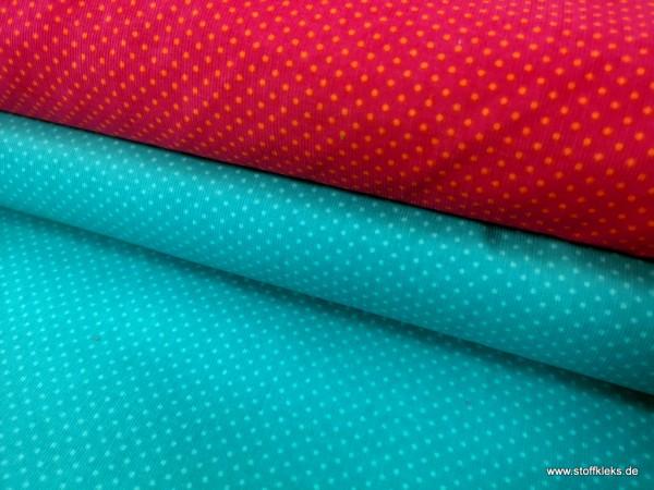 Babycord | bedruckt | 2mm Punkte | pink/orange