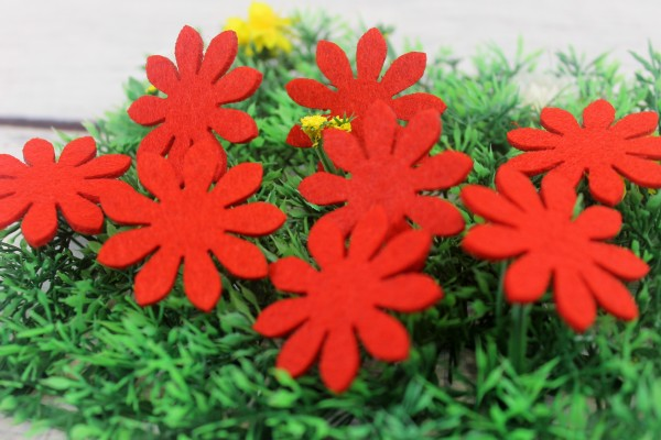 Filzapplikation | Blume | rot | 4cm
